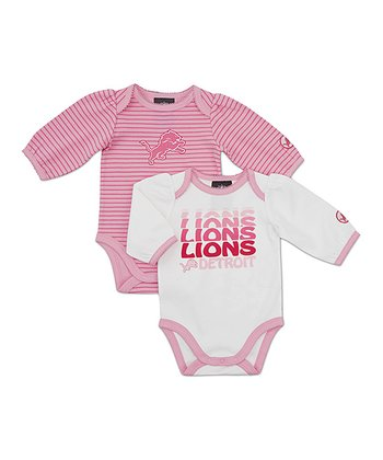 Pink Detroit Lions Long-Sleeve Bodysuit Set - Infant