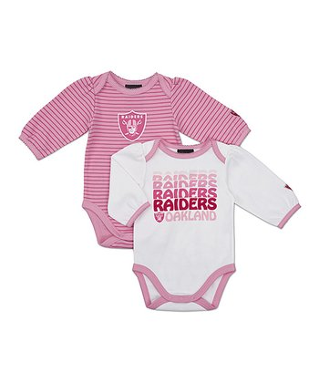 Pink Oakland Raiders Long-Sleeve Bodysuit Set - Infant