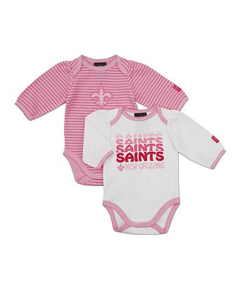 Pink New Orleans Saints Long-Sleeve Bodysuit Set - Infant