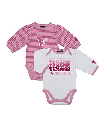 Pink Houston Texans Long-Sleeve Bodysuit Set - Infant