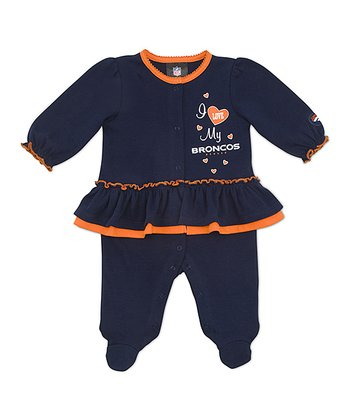 Navy Denver Broncos Skirted Footie - Infant