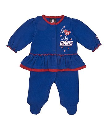 Blue New York Giants Skirted Footie - Infant