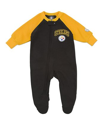 Black Pittsburgh Steelers Raglan Footie - Infant & Toddler