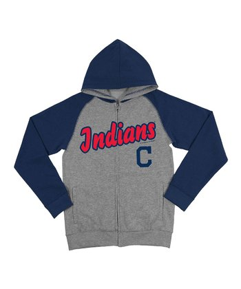 Steel Cleveland Raglan Indians Zip-Up Hoodie - Toddler & Kids