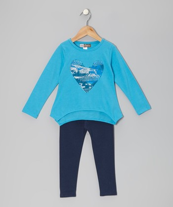 Blue Heart Sidetail Tunic & Leggings - Toddler