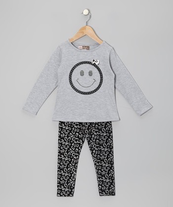 Gray Smiley Face Tunic & Black Leopard Leggings - Toddler