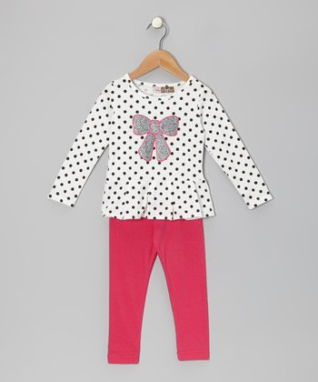 Off-White Polka Dot Tunic & Leggings - Toddler
