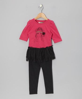 Fuchsia Layered Tunic & Black Leggings - Toddler