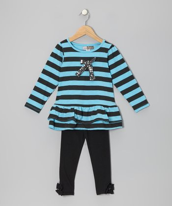 Blue Stripe Tunic & Black Leggings - Toddler