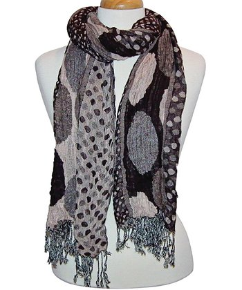 Brown Polka Dot Fringe Scarf