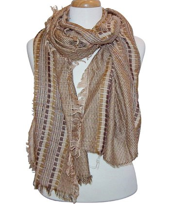 Beige Plaid Shimmer Feathered Scarf