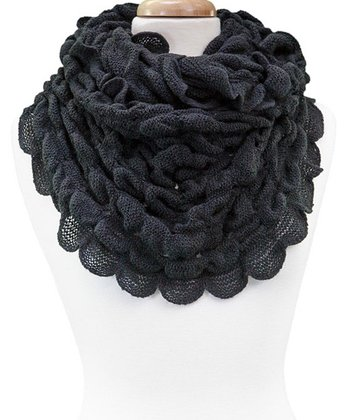 Black Scalloped Ruffle Infinity Scarf