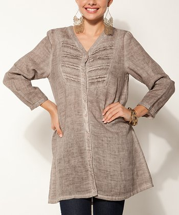 Khaki Pleated Linen Tunic