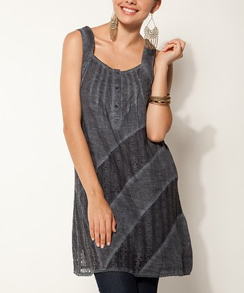 Indigo Stripe Linen Shift Dress