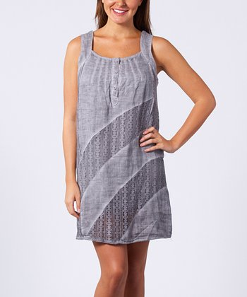 Silver Stripe Linen Shift Dress