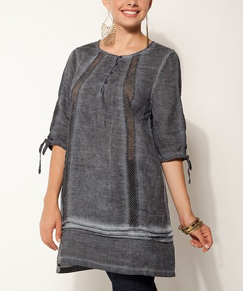Indigo Sheer Cutout Linen Tunic