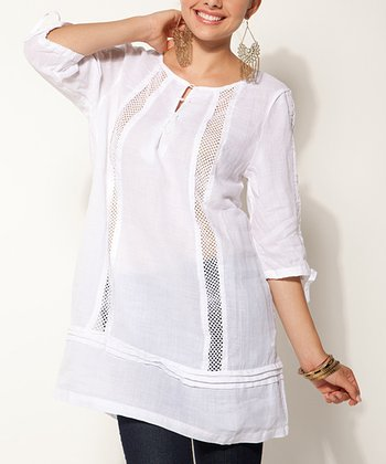 White Sheer Cutout Linen Tunic