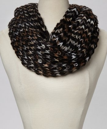 Black & Brown Chunky Knit Infinity Scarf