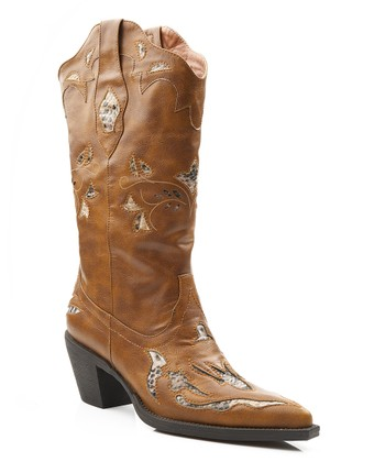 Tan Faux Snakeskin Cowboy Boot - Women