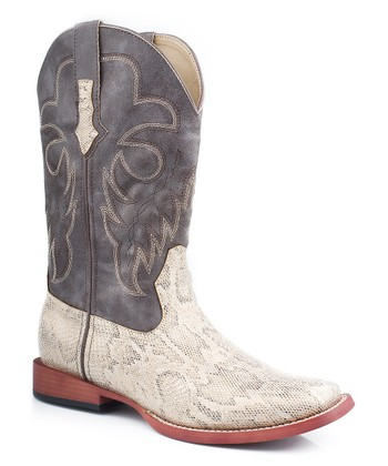 White & Metallic Python Cowboy Boot - Women