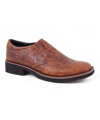 Cognac Floral Embossed Shoe - Women