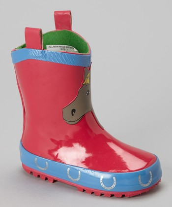 Red & Blue Pony Rain Boot - Kids