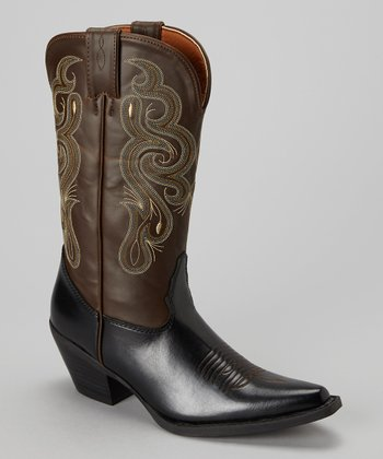 Black & Brown Coppell Cowboy Boot - Women