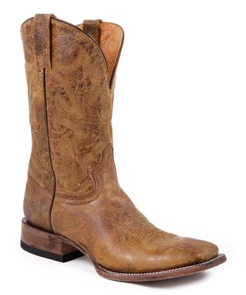 Gold Crackle Distressed Leather Cowboy Boot - Men