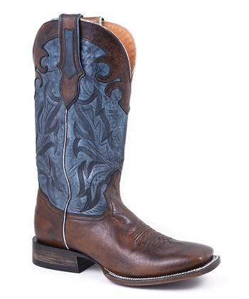 Antique Tan & Blue Cowboy Boot - Men