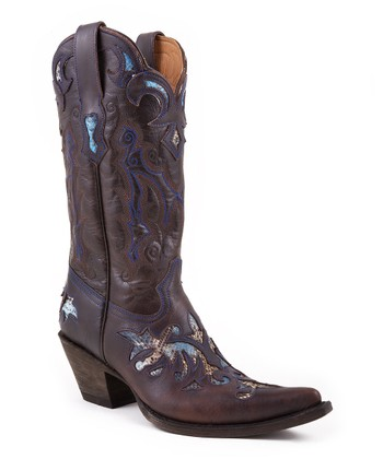 Chocolate Crackle Python Underlay Cowboy Boot - Women