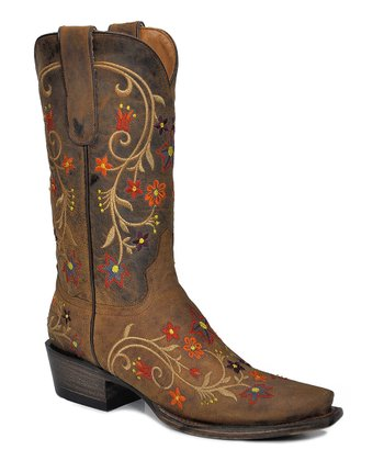 Brown Floral Leather Cowboy Boot - Women