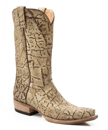 Tan Bark Crackle Cowboy Boot - Women