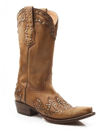Tan Rivet Sanded Cowboy Boot - Women