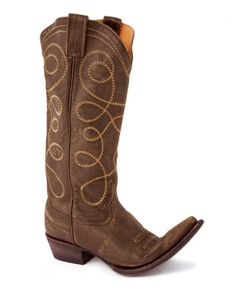Brown Distressed Leather Cowboy Boot - Women