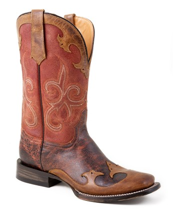 Cognac Distressed Cowboy Boot - Women