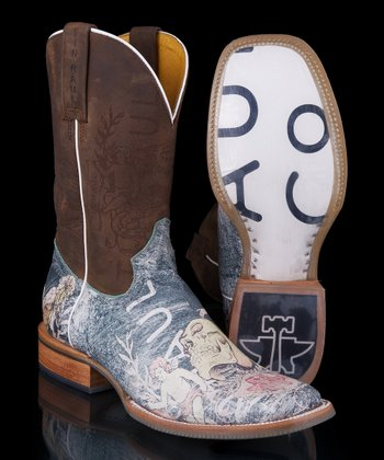 Gray & Brown Faded Angel Laser Cowboy Boot - Women