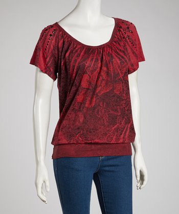 Maroon Studded Angel-Sleeve Top - Women & Plus