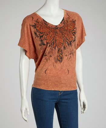 Orange Feather Dolman Tee - Women