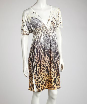 Cream Safari Rhinestone Sublimation Dress