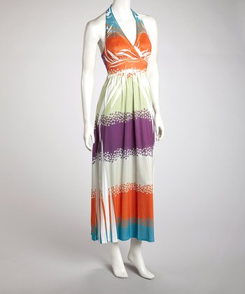 Orange & Purple Sublimation Halter Dress