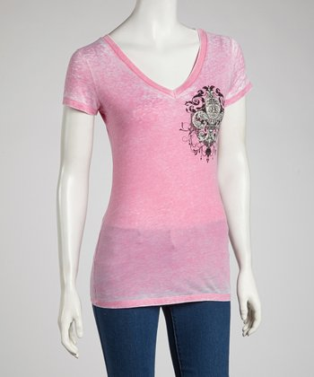 Pink Fleur-de-Lis Burnout V-Neck Tee - Women & Plus