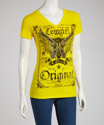 Yellow 'Cowgirl' Rhinestone V-Neck Tee - Women & Plus