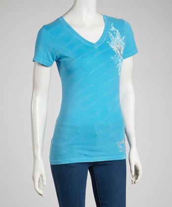 Turquoise Fleur-de-Lis V-Neck Tee - Women