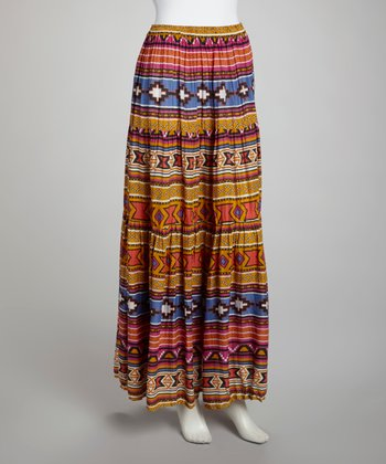Gold Tribal Stripe Broomstick Maxi Skirt