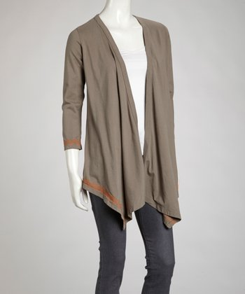 Gray & Orange Zigzag Open Cardigan