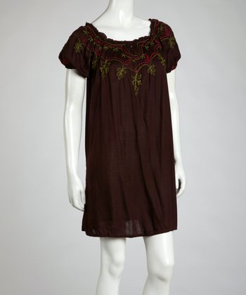 Chocolate & Raspberry Flower Peasant Dress