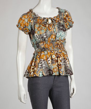 Gray Spring Floral Peasant Top