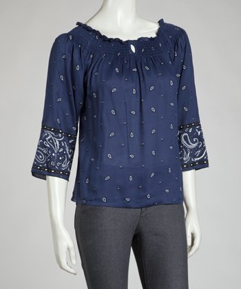 Blue Bandanna Shirred Top