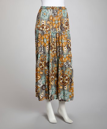 Blue Spring Floral Broom Maxi Skirt