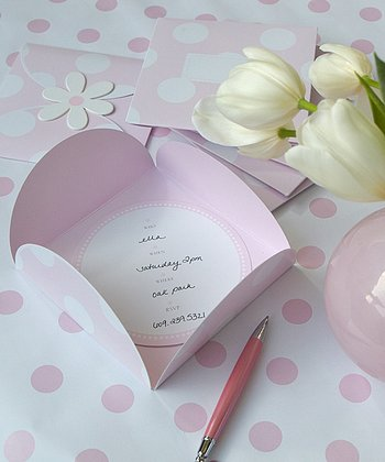 Pink Birthday Invitation - Set of Six
